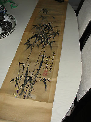 "Vtg Antique Japanese Bamboo Poem Sumi-E Ink Hand Painted Scroll 53"" Blood Stamp"