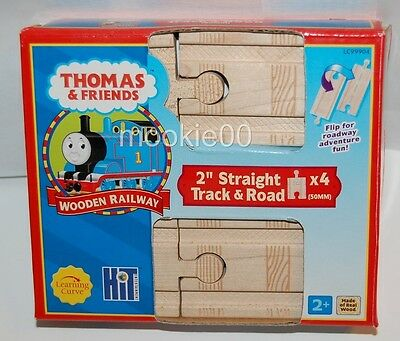 2 Inch Straight Train Track - Road Pack - 4 Pieces - Thomas WOODEN Railway - NIB
