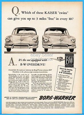 1952 Kaiser Frazer Borg Warner Overdrive Vintage Illustrated 50s ad