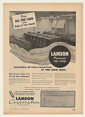 1948 Lamson Pneumatic Tube System Cash in Hand Trade Ad