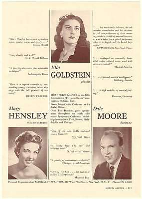 1962 Mary Hensley Ella Goldstein Dale Moore Photo Ad