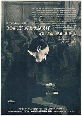 1962 Pianist Byron Janis Photo Booking Print Ad