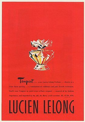 1947 Lucien Lelong Tempest Perfume Bottle art Print Ad