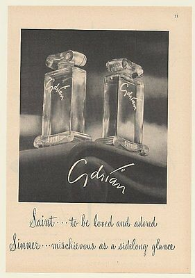1947 Adrian Saint and Sinner Perfume Bottles Print Ad