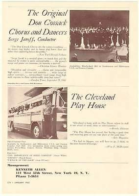 1962 Don Cossack Chorus Dancers Cleveland Play House Ad