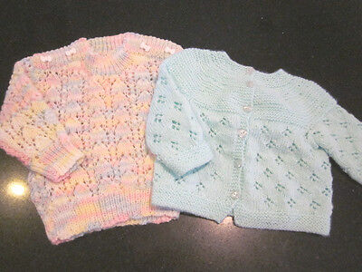 Hand Knitted Baby Cardi  & Jumper Size 000  New Without Tags