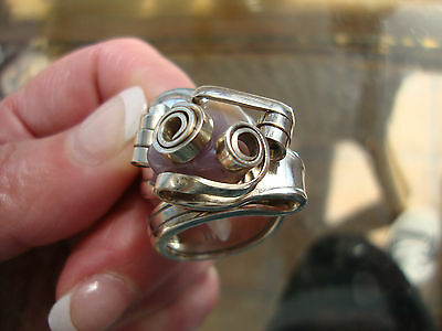 VINTAGE ARTISAN MADE FORK RING with AGATE STONE SIZE 8 VERY WELL MADE!