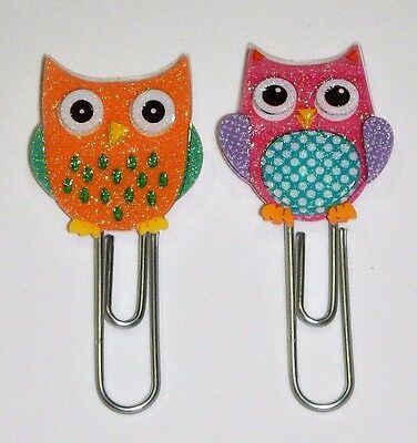 Cute Glittery Owls Clips Set of 2 Handmade for Book Markers Planners Paper Clips