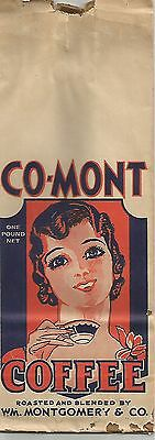 VINTAGE 1930s One-Pound PAPER BAG ADVERTISING CO-MONT COFFEE WM MONTGOMERY & CO.