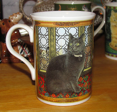 Green-Eyed BLACK (Dark Gray) CAT Sitting by Window – Crown Trent Fine Bone China