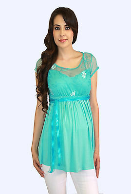 Green Lace Aqua Bow Maternity Blouse Casual Womens Short Sleeve Top S M L XL
