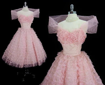 Vintage 50's Candy Pink Lace Tulle Full Skirt Party Dress Matching Wrap M