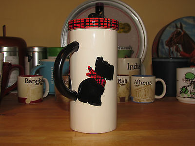 SCOTTISH TERRIER Coffee Tea Mug Cup with Tartan Hat Lid - MSRF Design Studio