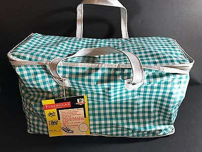 Vintage Fiberglass Vinyl Picnic Bag Thermo Frost Aqua Check Pattern New Oldstock