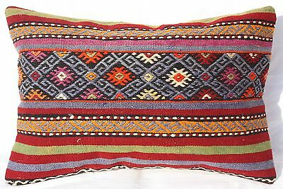 "TURKISH KILIM RUG LUMBAR PILLOW 24"" x 16"", KILIM LUMBAR CUSHION COVER, Striped"