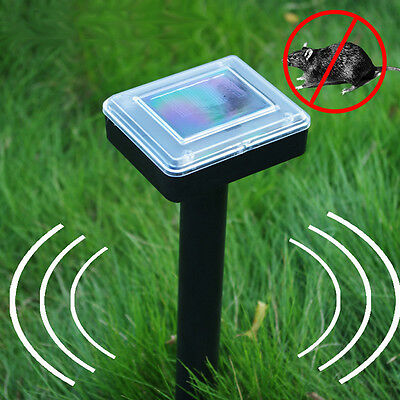 Hot Outdoor Solar Ground Rodent Mole Mice Mouse Rat Repeller Ultra Sonic Black