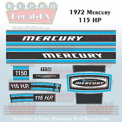 Discontinued Decal Reproductions in Stock Mercury 1974 115hp OUtboard Decal Kit