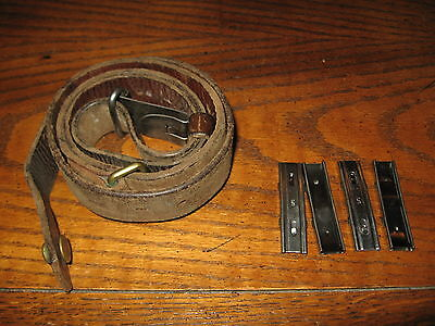 Swedish leather Mauser sling used 4 stripper clips m1896 m96 m38 military