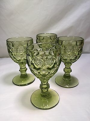 4 Imperial Glass Company Provincial Verde Green Thumbprint Wine Glass Goblets