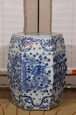 Antique Chinese Blue White Porcelain Dragon Garden Stool,JiaQing Period.