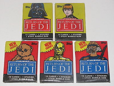 1983 Topps Star Wars Return Of The Jedi Unopened Pack Lot Of 5 Plus Display Box