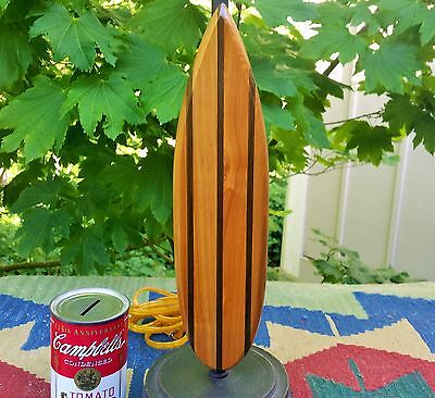 WOODEN surfbaord lamp vtg calif hawaiian florida beach cabin tiki bar table art