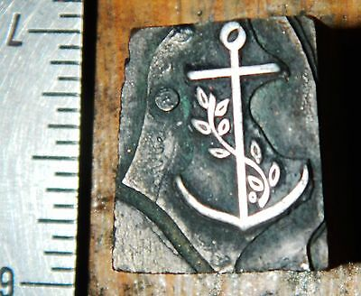 Letterpress Printing Printer Block Press Wood Metal Type Sailor Anchor Navy