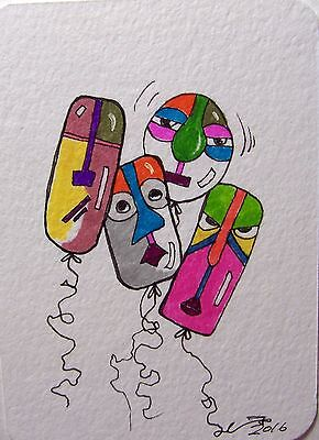 ACEO original balloons faces abstract illustration ink