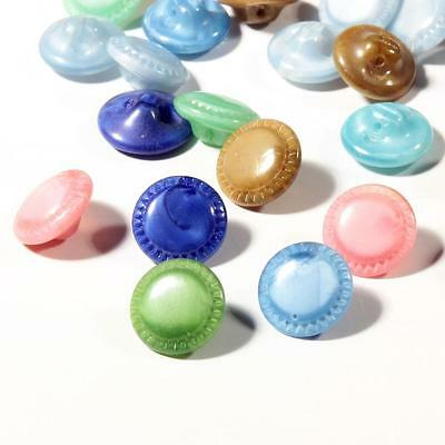 (50) 10mm Czech vintage pink blue green brown satin striped doll glass buttons