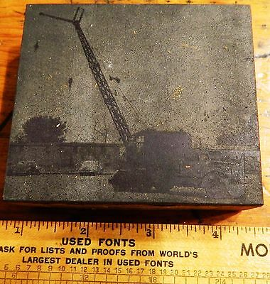 Letterpress Printing Printer Block Press Wood Metal Type 1950's Crane Truck