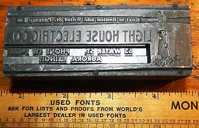 Letterpress Printing Printer Block Press Wood Metal Type Light House Electric
