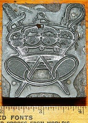 Letterpress Printing Printer Block Press Wood Metal Type Mason Sword Crown Rings