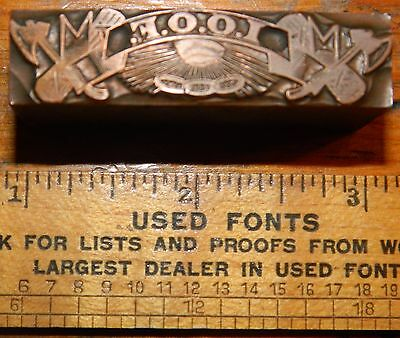Letterpress Printing Printer Block Press Wood Solid Lead Type Copper Odd Fellows