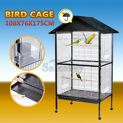 Large Bird Cage Stand-Alone On Wheels 175cm Parrot Budgie Canary Aviary Pet