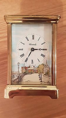 Antique Henley English Carriage Clock With Painting Singed
