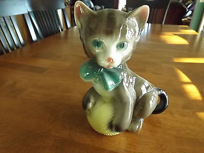 Vintage Old Retro ROYAL COPLEY COPELY Cat Kitten Planter Green Bow Yellow Yarn