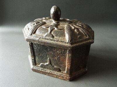 Antique cast iron octagonal tobacco box with lid