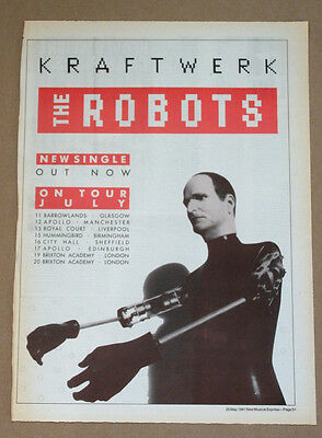 Kraftwerk - The Robots - plus Tour dates ORIGINAL ADVERT POSTER NME free UK P&P