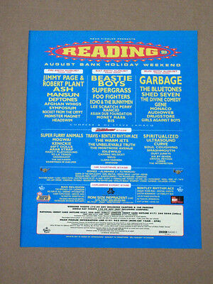 READING FESTIVAL 1998 BEASTIE BOYS ASH  MUSIC ADVERT POSTER 37 x 29cm GARBAGE