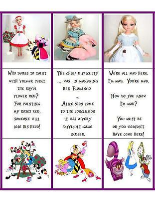 10 Alice in Wonderland Cardstock Bookmarks Party Favors w/ Ellowyne Wilde Photos