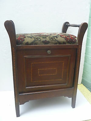 ANTIQUE or VINTAGE PIANO STOOL - drop-down front compartment