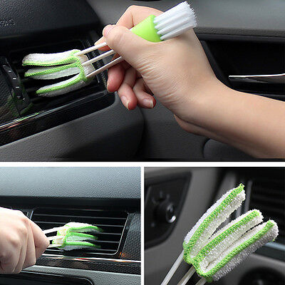 1xDouble-Head Clean Brush Car Indoor Air-condition Outlet Window Care Cleaning