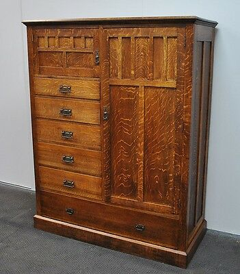Lovely Antique Oak Combination Wardrobe * Gents Robe * Chest Of Drawers  c1920s