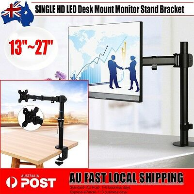 SINGLE HD LED Desk Mount Monitor Stand Bracket 1 Arm Holds Two LCD Screen TV AU