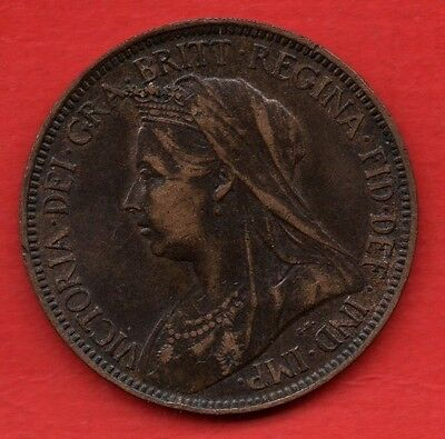 Queen Victoria 1898 Veiled Head Halfpenny Coin. Half Penny.