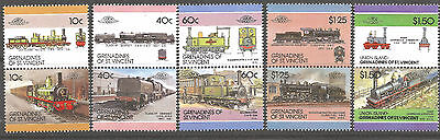 Grenadines of St. Vincent 1980s Train stamps in pairs, Loco 100, Mint MNH