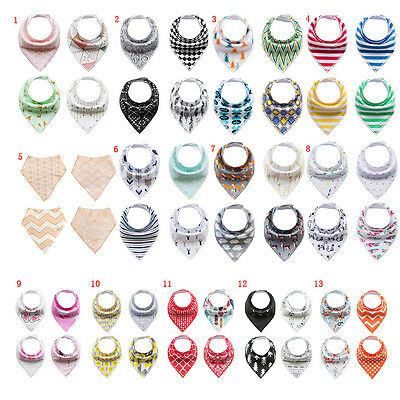 4Pcs Infant Kids Baby Burp Feeding Saliva Towel Dribble Triangle Bandana Bibs AU