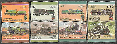 Grenadines of St. Vincent 1980s ClassicTrains stamps pairs, Loco 100, Mint MNH
