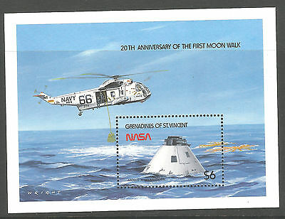 Grenadines of St. Vincent 1989 20th Anniv. Man walk on Moon sheet $6 stamps, MNH