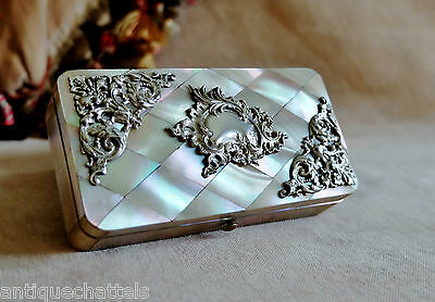 VICTORIAN MOTHER OF PEARL RING BOX Antique Rococo Silver Pin Jewellery Trinket